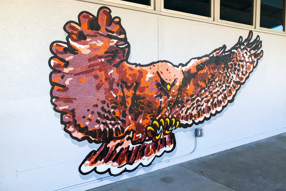 Hutchinson Middle School hand painted hawk school mural