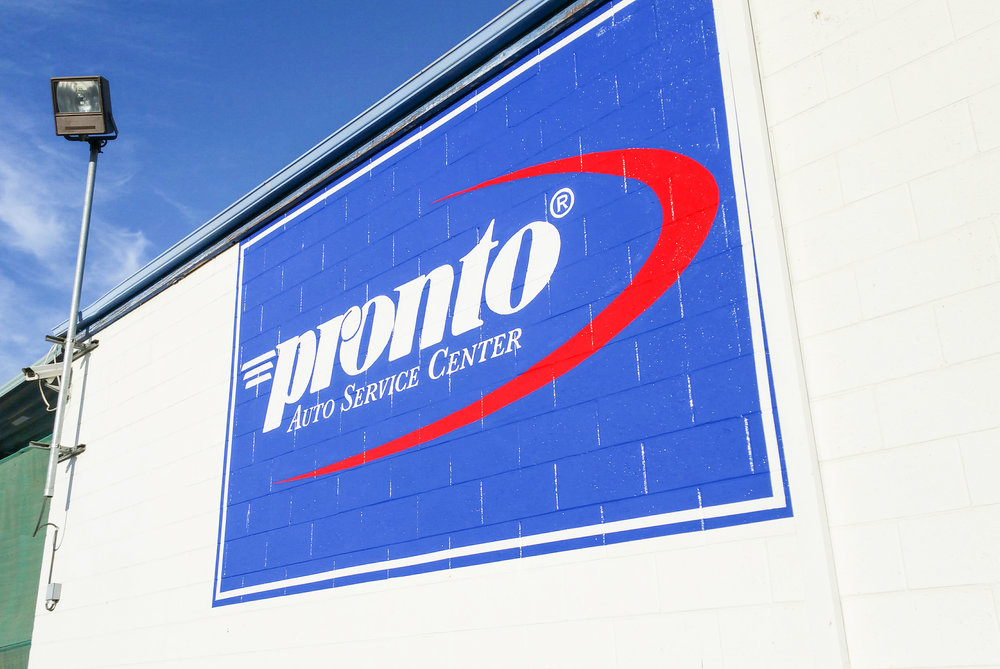SIGN PAINTING WORK - HAND PAINTED PRONTO AUTO SERVICE SIGN