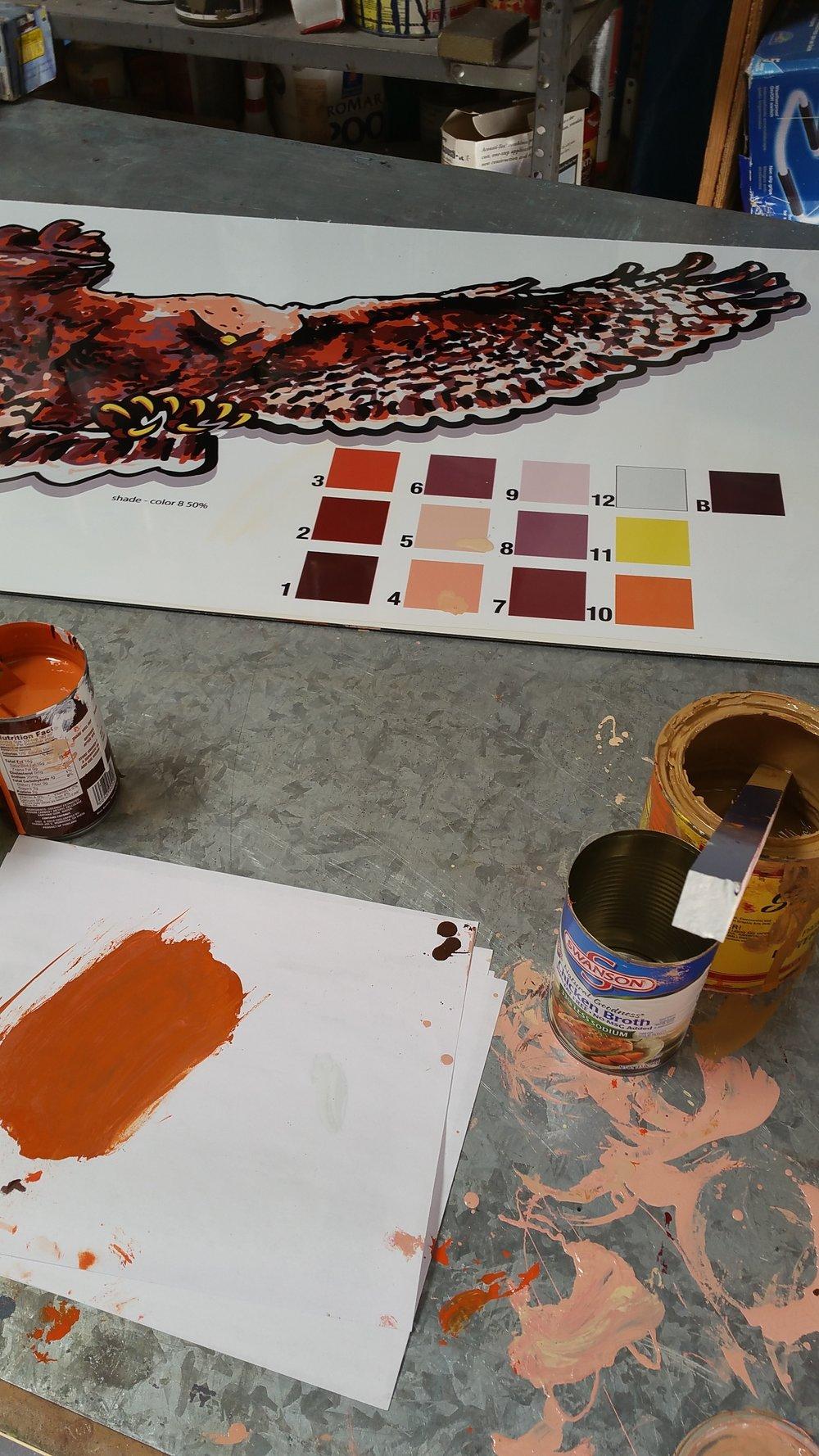 Hutchinson Hawk mascot paint color match