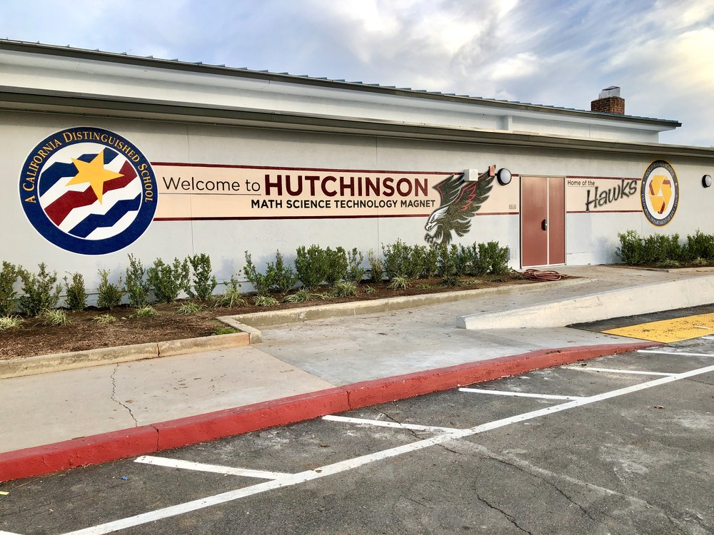 Hutchinson Middle School hand painted welcome mural
