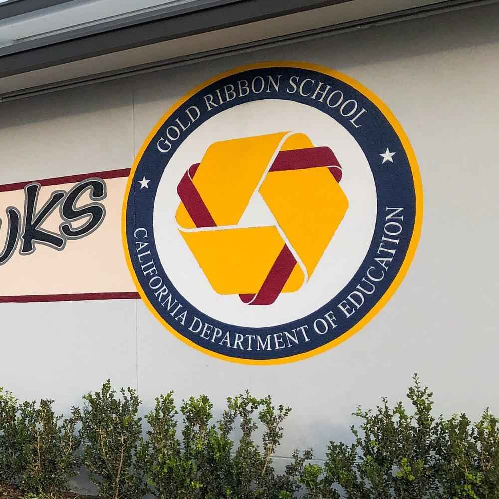 Hutchinson Middle School Gold Ribbon Award sign detail