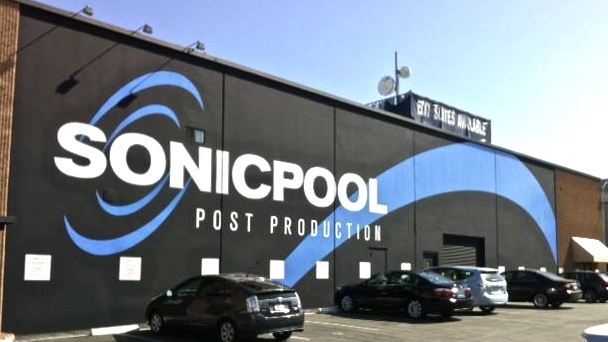 Sonicpool Post Production hand painted wall sign - completed
