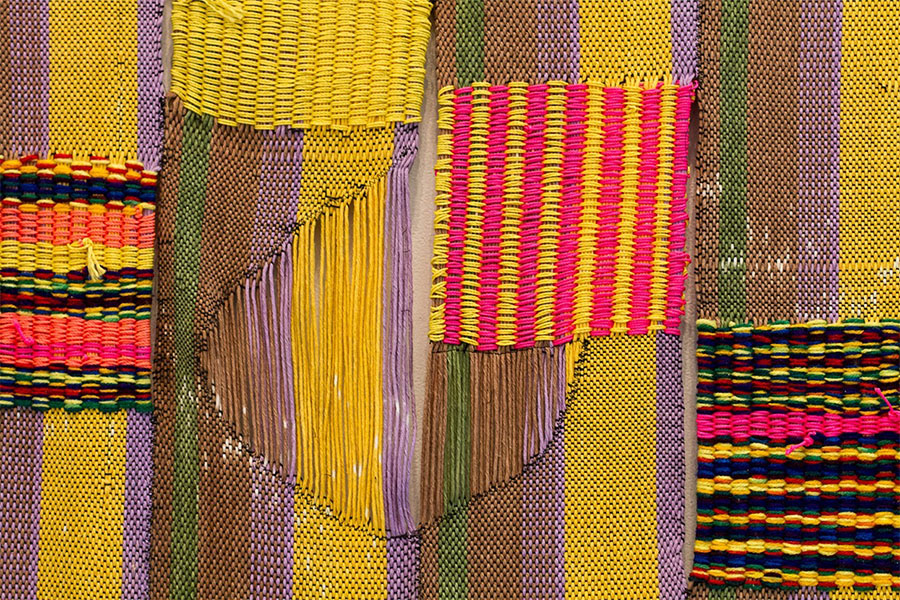 "woven cotton, nylon and acrylic yarn | 85"" x 30"" 