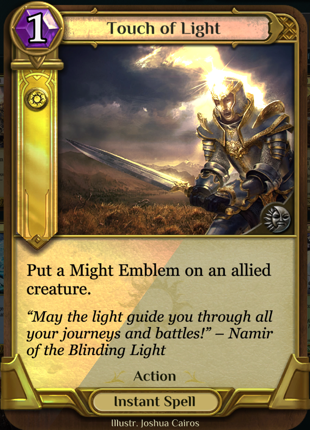 Touch of Light - This card works wonders in Limited formats; though, we do not see it very often it constructed play. The AI will use this, and as Fuzz and I often say...