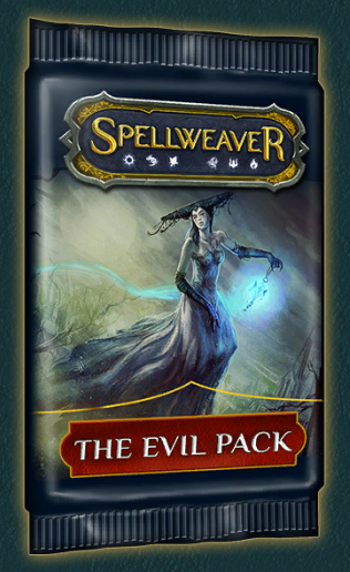 Evil Packs - Cost: 17.5k gold or 140 crystalsAs quest reward: Yes (rare and epic quests)No. of cards: 10Pity timer: Yes (shared between normal, good, evil, premium packs)Rarity distribution and epic/heroic/foil chance: same as normal packNotes: - Good packs only contain cards of the good aspects (order, wisdom, nature) and evil packs only contain cards of the evil aspects (corruption, dominion, rage)- The shared pity timer allows you to somewhat min max epic and heroic drops, if you are looking for a specific card. By opening a good or evil pack on the 12th (48th) pack you can effectively double your chances of getting a specific epic/heroic card (compared to opening a normal pack).