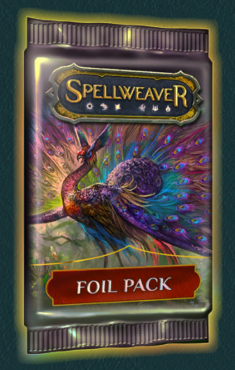Foil Packs - Cost: 500 crystalsAs quest reward: NoNo. of cards: 10Pity timer: YesRarity distribution, epic/heroic chance: Same as normal packNotes:- All cards in this pack are guaranteed to be foil.- NEVER contains cards you already own 4 copies of unless you already own 4 copies of every card in that rarity slot (same as premium pack). If you already own 4 copies of every card in a rarity slot, you will get a card you do not own 4 foil copies of in that rarity slot.- If you have a full collection and are going for foils, you can use the rule above to your advantage. Before opening a foil pack unbind cards you want to have foil until you have 3 or less overall copies of them. The next foil pack you open will prioritize those cards over other cards in that rarity slot. Example: You have 4 copies of all uncommon cards (foil or non foil). You unbind copies of Soul Projection until you only have 2 copies of it. The next foil pack you open is guaranteed to contain 2 foil copies of Soul Projection in the 2 uncommon slots.- Can contail foil heroes. This is the only type of pack (aside from the hero pack) that can contain heroes.- If you unbind all the cards, it has the same shrine per crystal value as a normal pack (assuming a 100 crystal cost for the normal pack).- Considering crafting cost (not unbind value) this pack has potentially the greatest per crystal value of all packs by a large margin. However that is only relevant, if you are specifically going for foils.