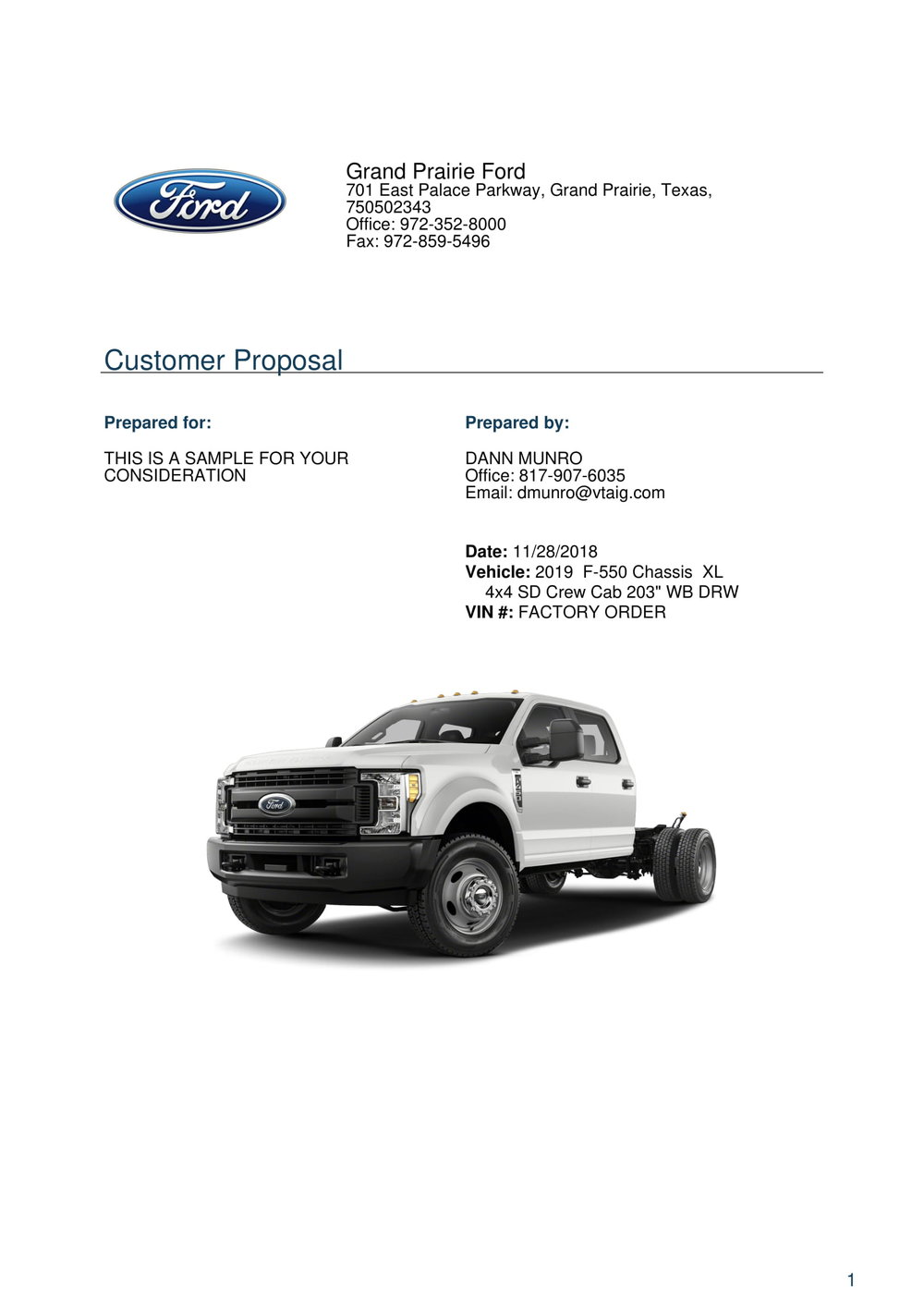 Copy of 2019 F550 Crew Cab For Sale