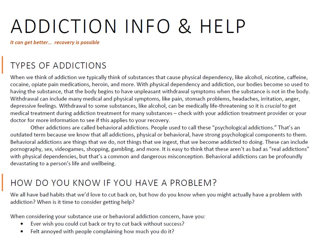 Addiction information, types of addiction, signs of addiction, treatment options, and more.