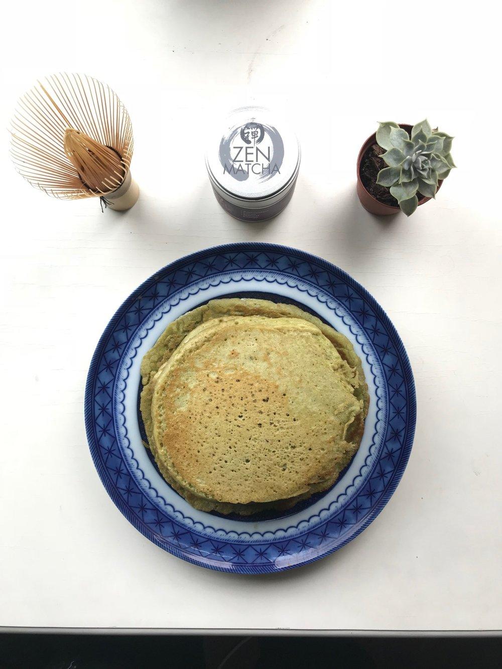 Sunday Morning Matcha Pancakes