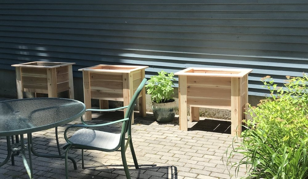 Three of the Patio Planters. All Cedar with rounded edges. All screws are stainless steel. Handmade in Madison, Connecticut.