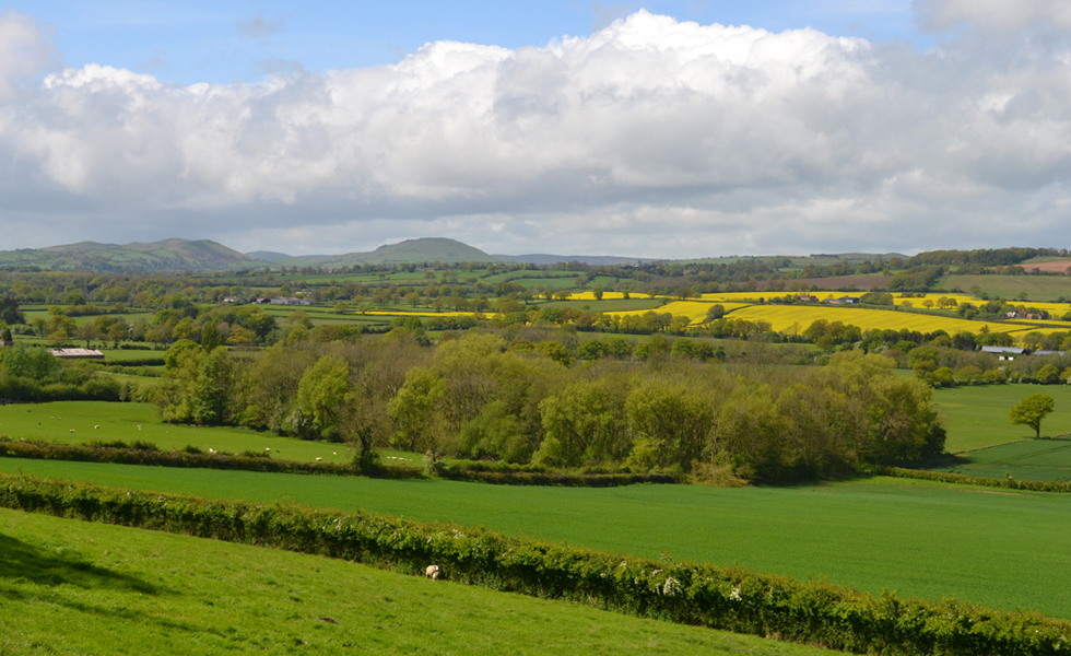 View from wenlock edge over open Shropshire countryside