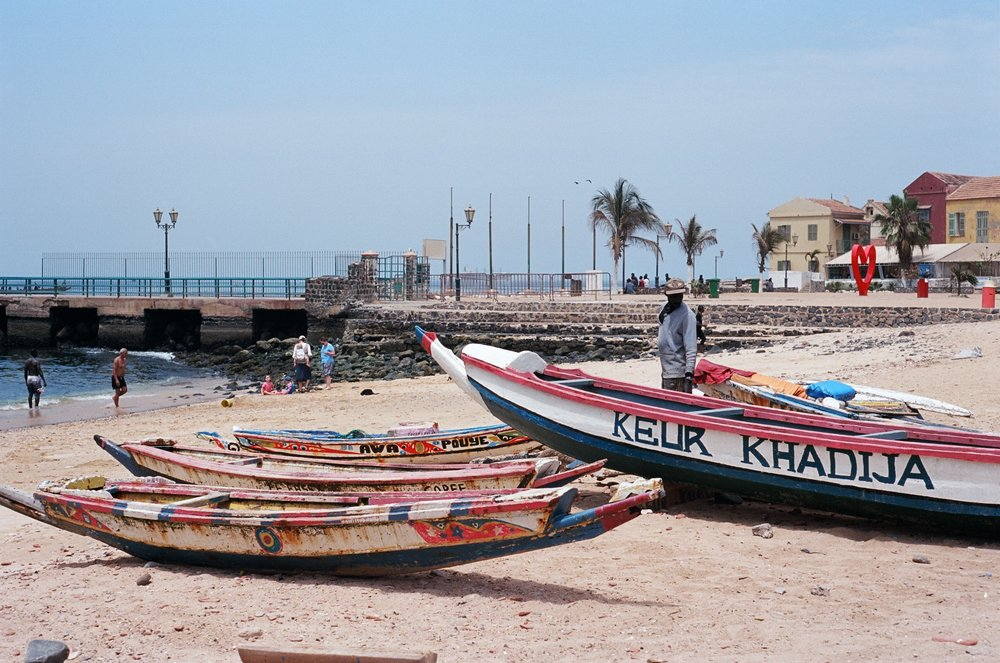gorée island. fishing pirogues on the beach.