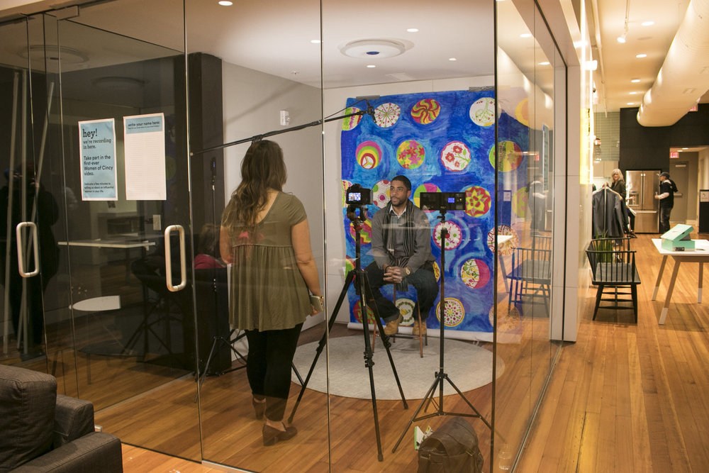 Filming at the Stories + Fun event hosted by Women of Cincy