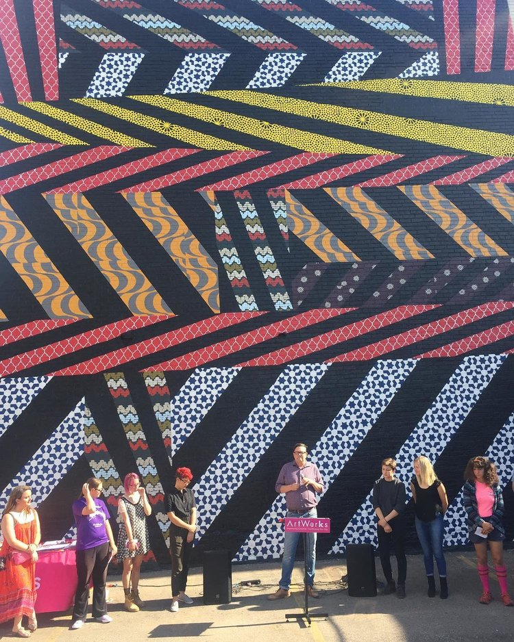 Unveiling the ArtWorks Camp Razzle mural, a collaboration with The Welcome Project