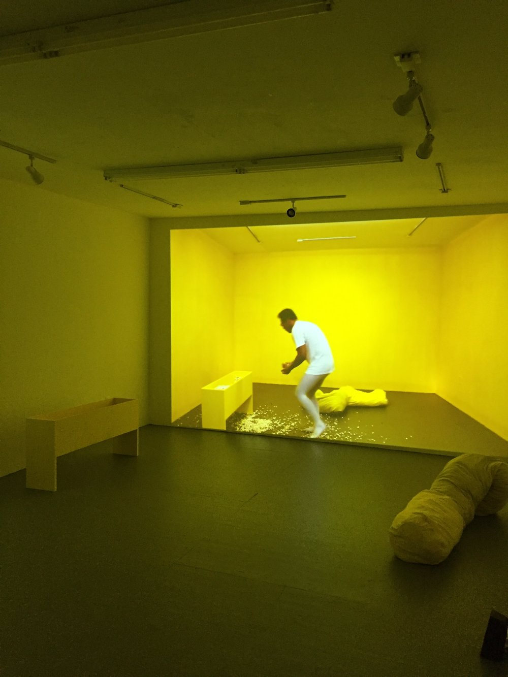 Yellow  (Installation photo) 2017. Artist, bean bag, popcorn. Dimension variable