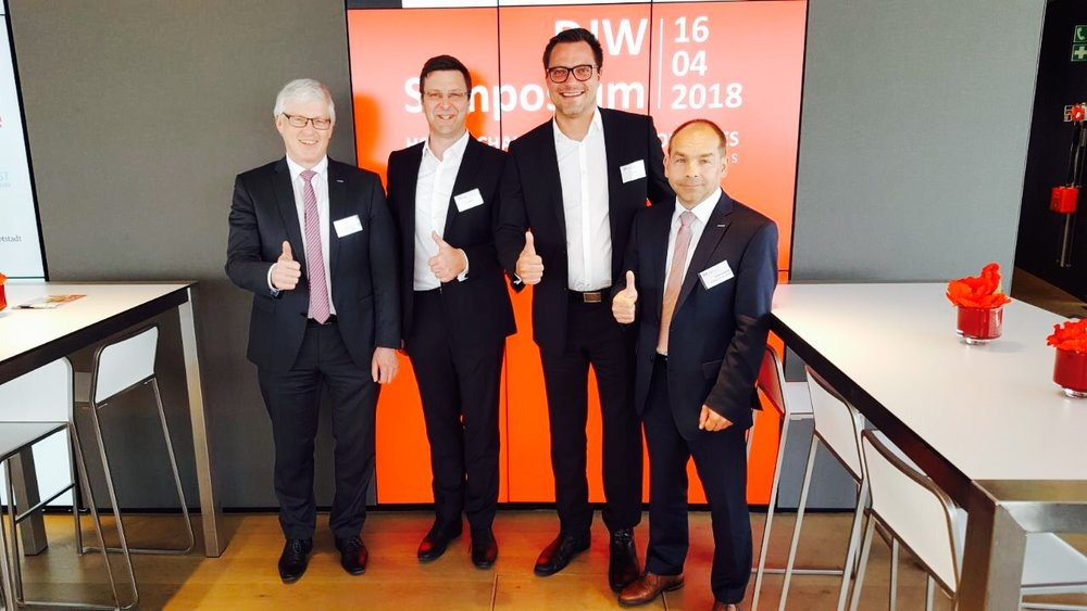 Artificial Intelligence Symposium, Düsseldorf, GermanyMr. Manfred Stern, Vice President Yaskawa Electric Corporation, Managing Director Yaskawa EuropeMr.Armin Schlenk, Marketing Director, Yaskawa EuropeMr.Peter Boras, CEO and Co-founder RoboticsXDr. Rok Prešeren, CTO and Co-founder RoboticsX -