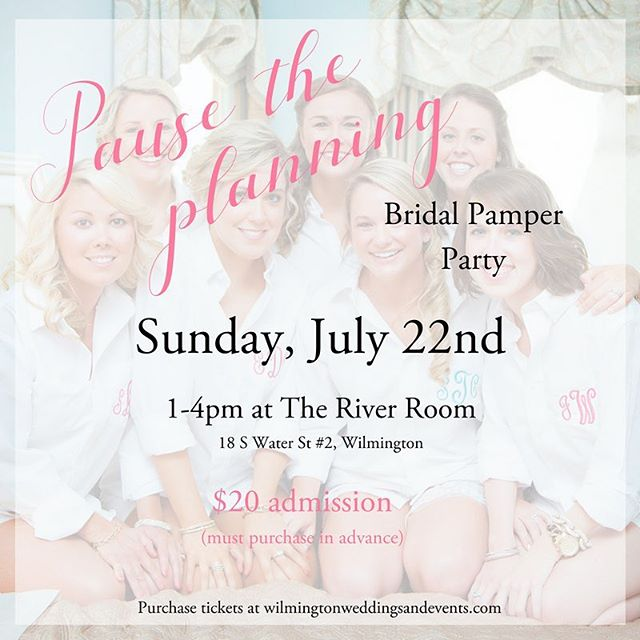 Wedding planning can be stressful. That's why we want to put it on pause! Brides, grab your girls and come out to @theriverroomevents on July 22 for a day of pampering and relaxation! . Get beauty treatments, mimosas, light refreshments, and enjoy a day with your bridesmaids. Plus, you may win something in our raffle! . Don't miss out! Tickets (in our bio!) are on sale now and won't be sold at the door!