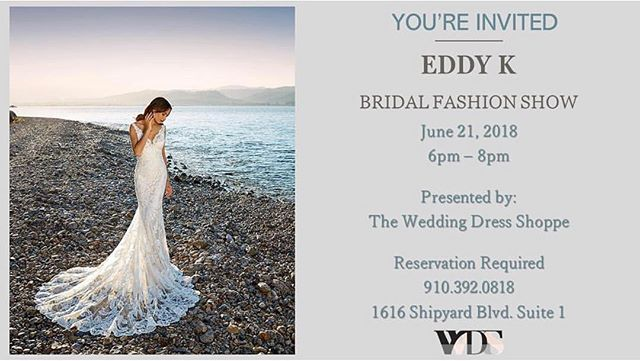 Wilmington brides: you don't want to miss this! @theweddingdressshoppe is hosting an exclusive bridal fashion show this Thursday at 6pm featuring their @eddyk_bridal gowns! Space is limited, but the event is free. See these gorgeous gowns on the runway and even try some on yourself, so mark your calendar!