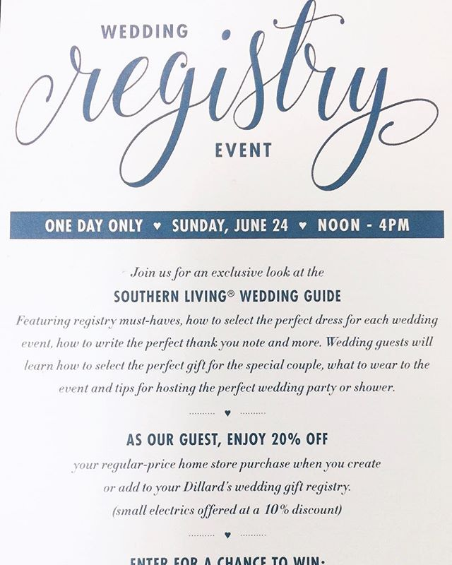 Wilmington brides! It's the week for bridal events, and we've got another one for you! One of the first things you'll do in your wedding planning is start your registry, and where better than @dillards! Stop by this Sunday, June 24th for a one day only exclusive registry event. Get 20% off when you start your registry and enter for a chance to win an amazing weekend getaway!