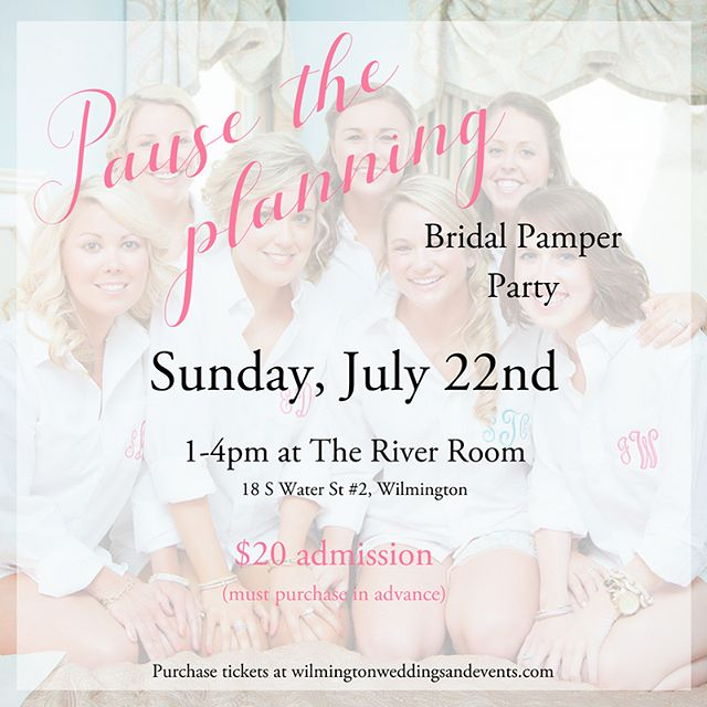 We're only a couple of days away, so it's your last chance to grab your tickets to our bridal pamper party @theriverroomevents! Enjoy a mimosa bar and donuts, massages, plenty of other beauty treatments, and a raffle! You'll get some time with your besties, and leave feeling relaxed and refreshed! . Just a few of the featured vendors and what they'll be providing: - Massages from @coastalmassagespa - Mimosa Bar from @flyingcloudbars - Mini Facials from @dillards Beauty Counter - Mini Boudoir Shoot from @indigosilver with Makeup from @belleamebeaute_ and Accessories from @camillesofwilm - Desserts from @pinkbakingcompany - Music from @coastaldjvideo - Calligraphy by @southernbeedesigns ...and more! . We promise you don't want to miss this party! It's this Sunday at 1pm and you can grab your tickets using the link in our bio @wilmingtonweddings!