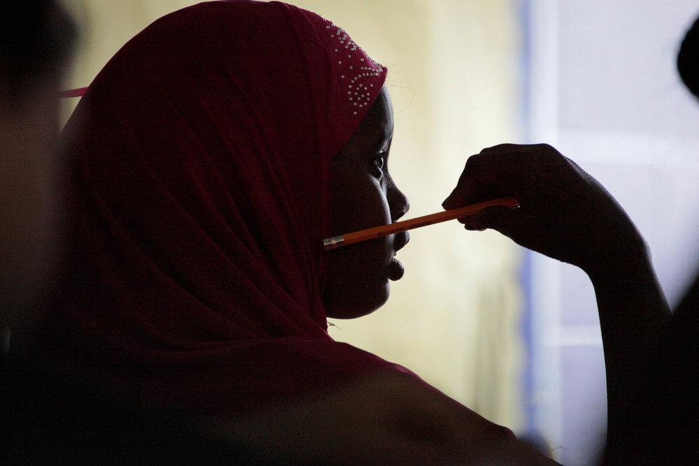 Fadumo Farah Abdi listens during Karen Beasley's fifth grade class at Bend Gate Elementary School.