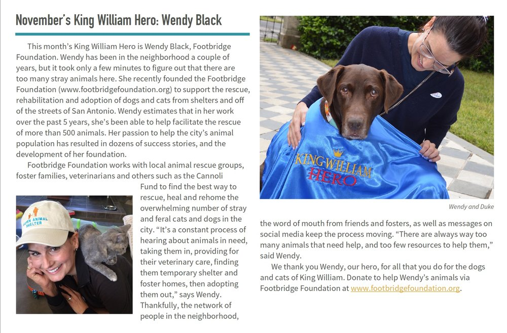 """""""…it only took a few minutes to figure out that there are too many stray animals here."""" - - King William Association"""