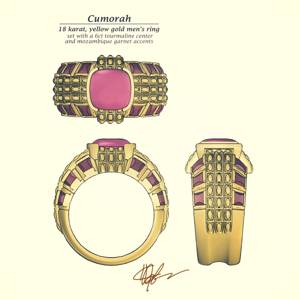 - 18 karat yellow gold Sanskrit engravingCustom-cut Mozambique garnet side stonesBuff-top African tourmaline center