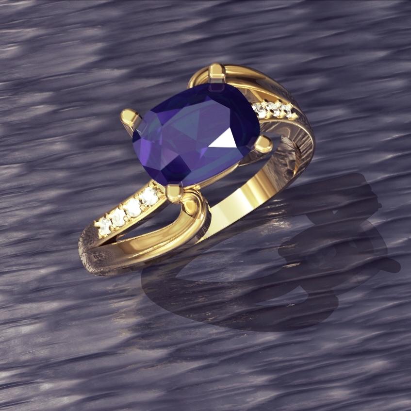 - 18 karat yellow gold1.2mm diamond melee shoulder accentsLab-grown alexandrite center