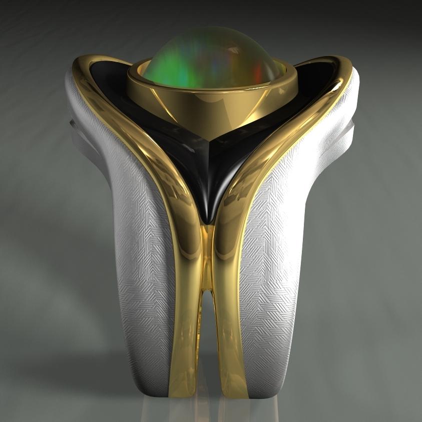 - 18-karat yellow goldPlatinum-sterlingCarved black jadeTop quality white Ethiopian opal