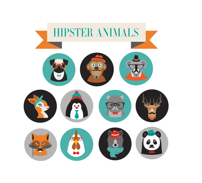 HIPSTER ANIMAL  ICONS - Hipster symbols and icons used in a board game ,Animals Explore.