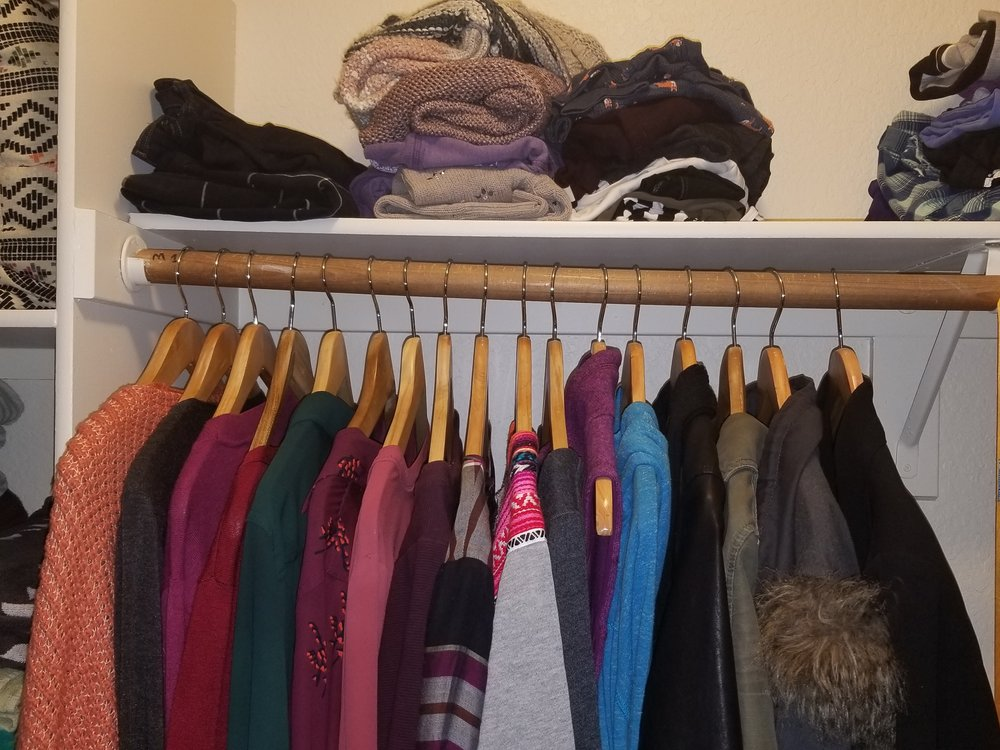 My closet after the first time I re-organized