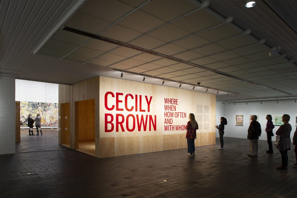 Installation shot of Cecily Brown, 'Where, When, How Often and With Whom', Louisiana.