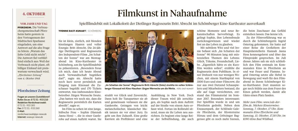 Bericht von Yvonne Dast-Kunadt   Pforzheimer Zeitung Nordschwarzwald  04. Oktober 2018