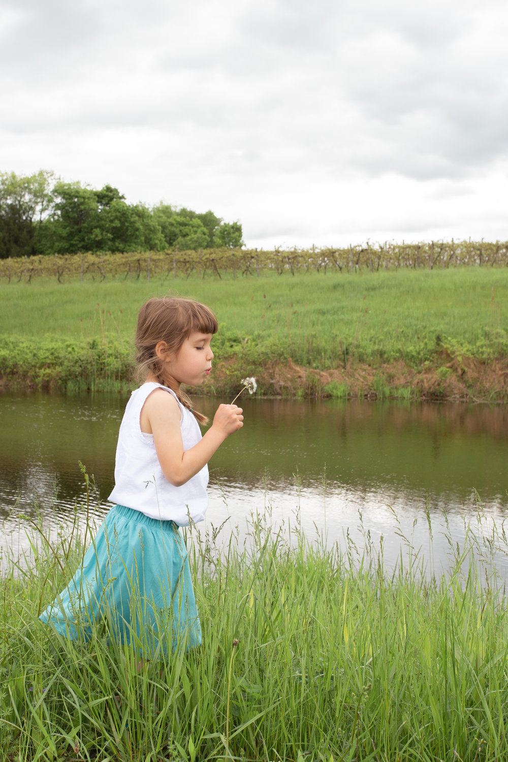 Girl wishing on a dandelion in a field in Germantown, NY.Photograph by Laughing Heart Photography.