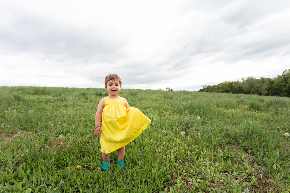 Girl in a yellow dress in a field in Germantown, NY.Photograph by Laughing Heart Photography.