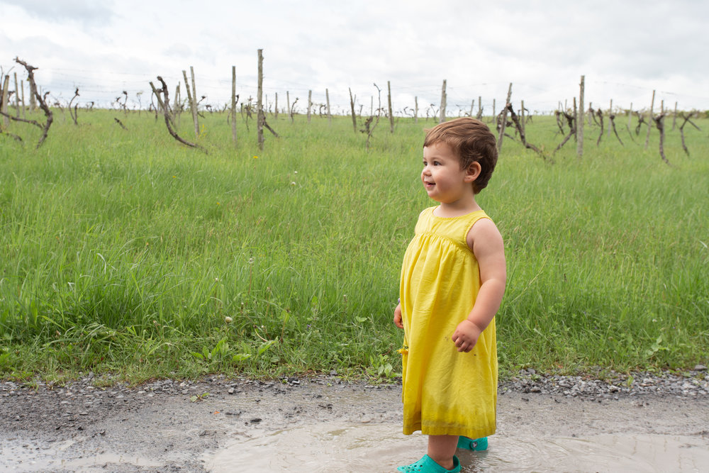 Girl in a yellow dress playing in a puddle in Germantown, NY.Photograph by Laughing Heart Photography.