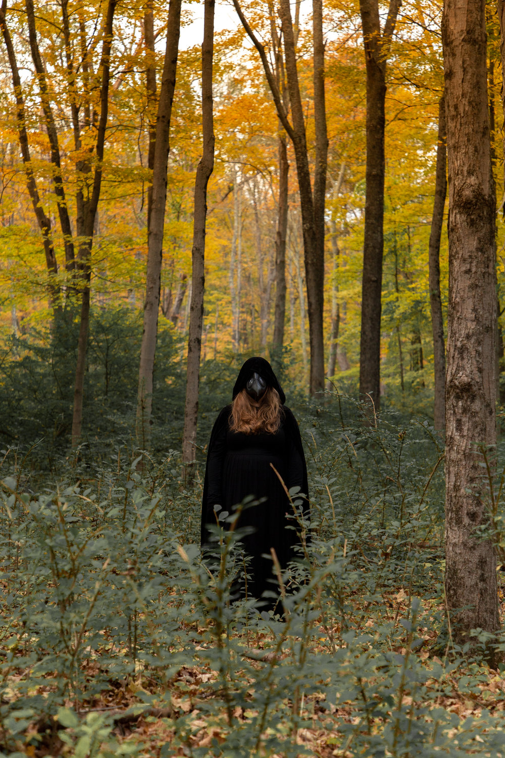 Woman dressed in all black with long nose mask in woods of Hewitt, NJ. Photo taken by Laughing Heart Photography.