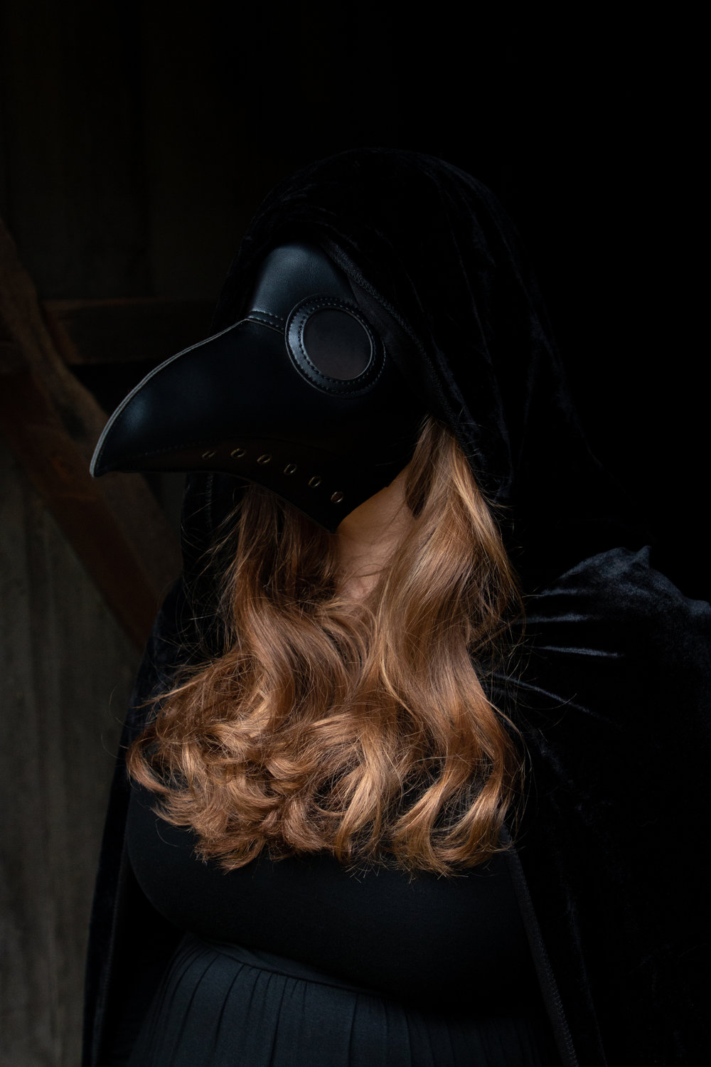 Woman dressed in all black with a long nose mask in Hewitt, NJ. Photo taken by Laughing Heart Photography.