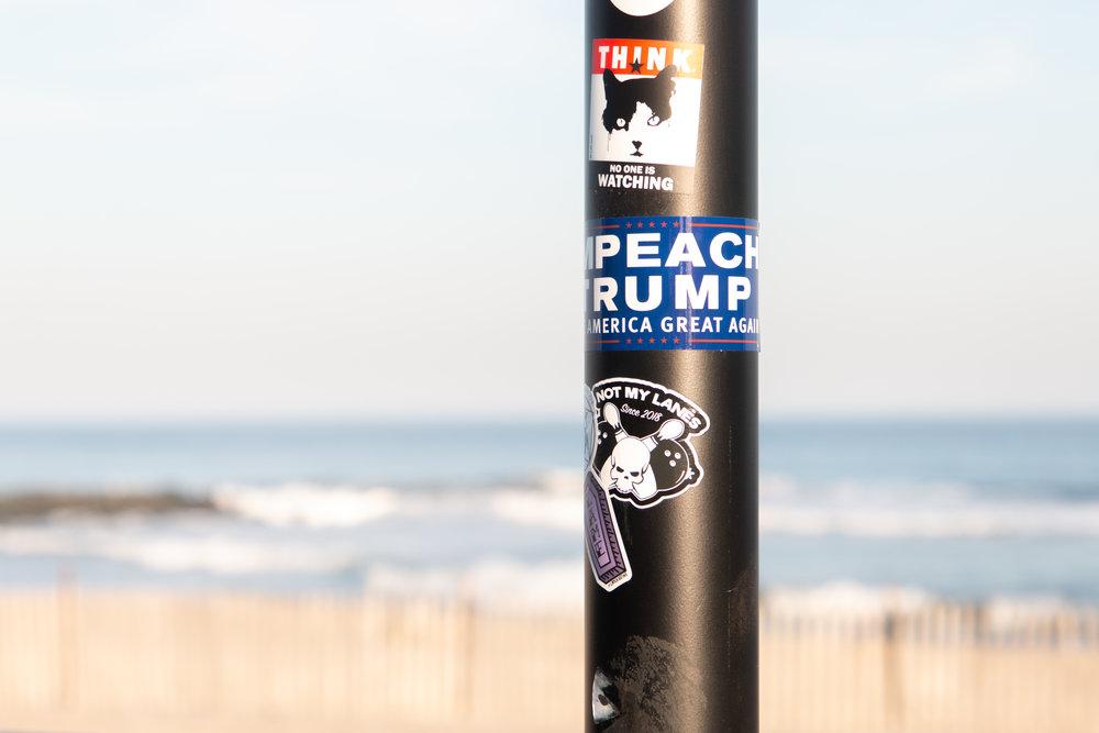 Impeach Trump sticker in Asbury Park, New Jersey. Photo by Kayleigh Ann Archbold.