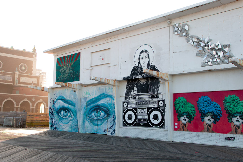 Paintings along Asbury Park Boardwalk in Asbury Park, New Jersey. Photo by Kayleigh Ann Archbold.