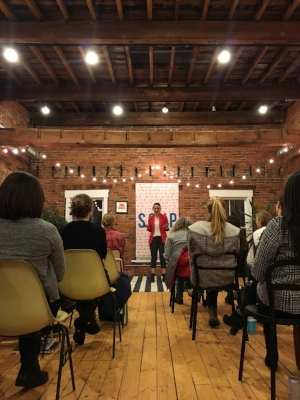 By evening and weekend, an event space. A presenter pitching her idea at SOUP, an event hosted by Study Hall to support creative projects in VT. Photo Credit: Study Hall,January 2018