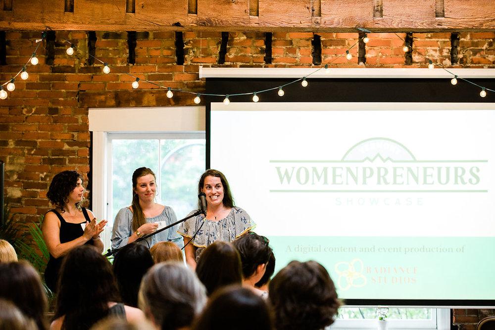 VT womanpreneur Ashley Reynolds, presenting Photo credit: Lauren Mazzotta Photography