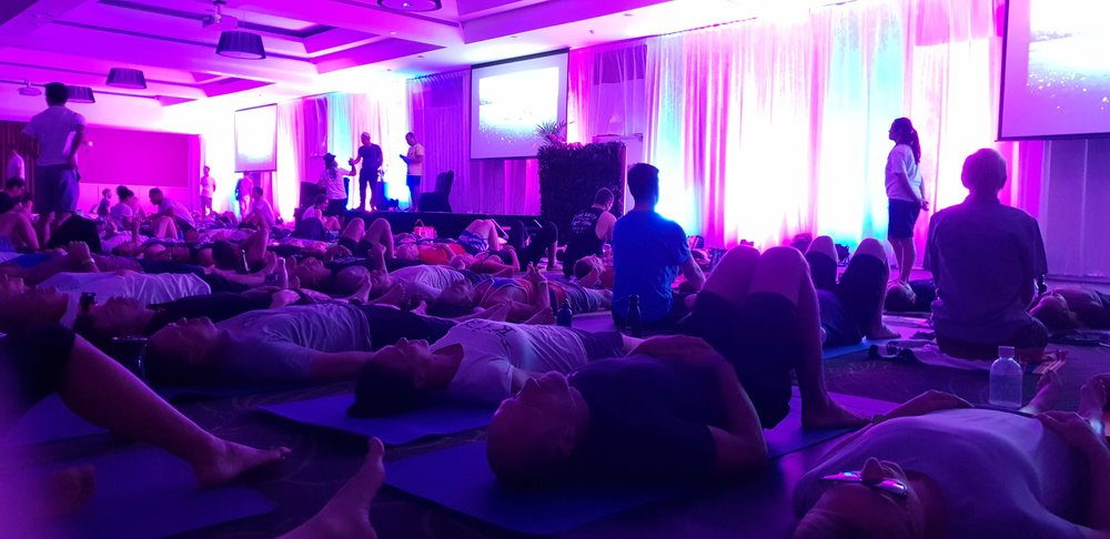 Wim Hof breathing session at the December conference, 2018.
