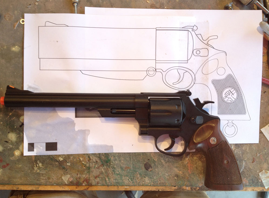 The client had attempted to make one himself so had already bought supplies and an airsoft gun. I based my plans on this gun so that I could make parts that fit the same model for a kit.