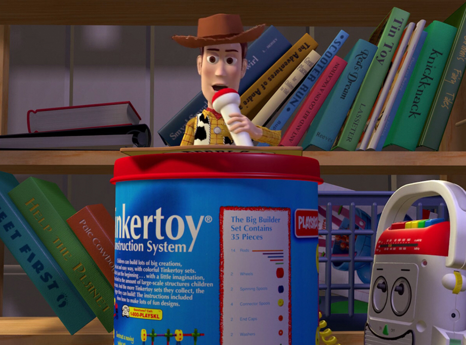One of my clients wanted Woody's Tinkertoy cannister podium. He bought a vintage can that had the right lid but the can was too tall.