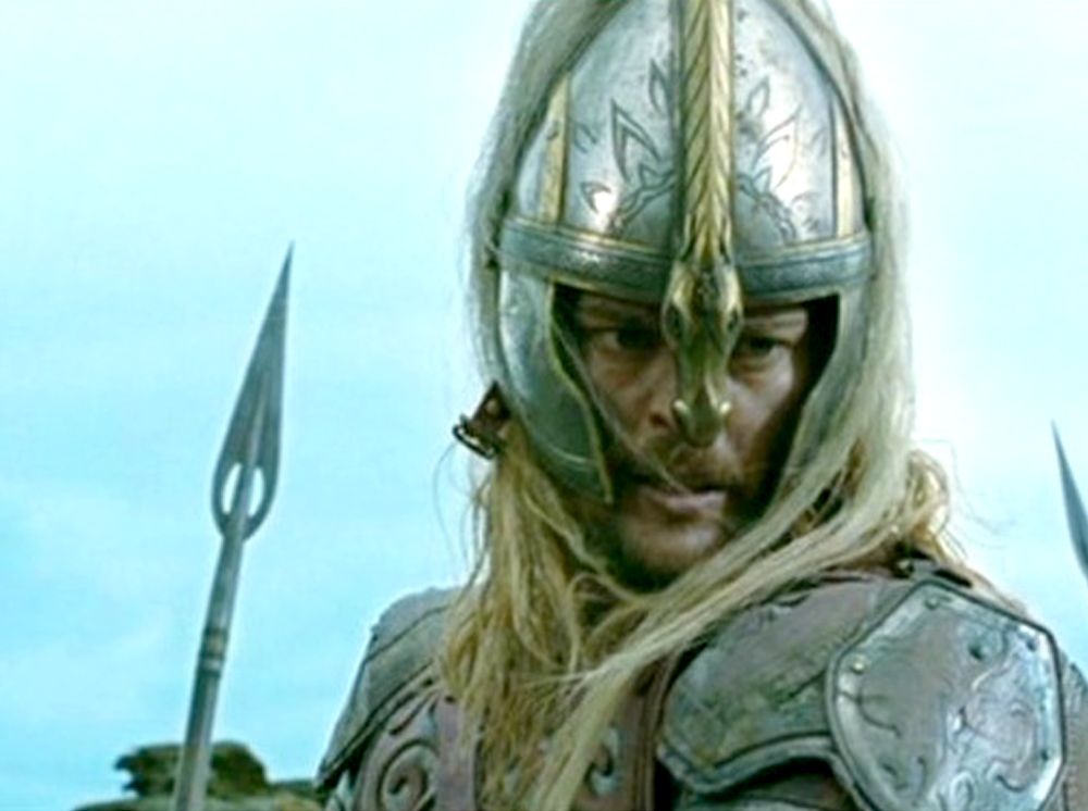 Karl Urban as Éomer with a spear in the background. I was able to cobble together enough reference from various shots in The Two Towers.