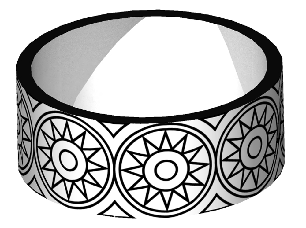 The shaft has two decorative rings around it. Strata can map the pattern around the ring but the geometry would have to be built from scratch.