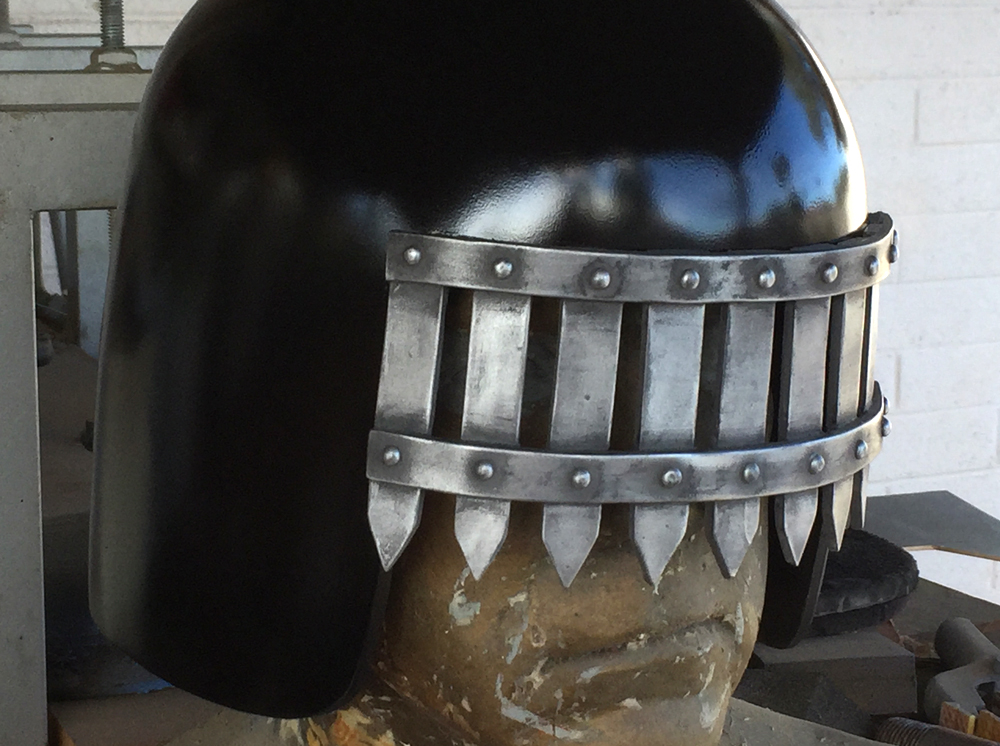 The painted helmet with visor applied.