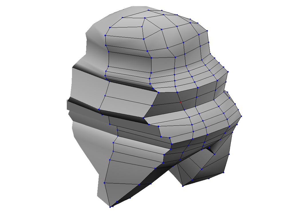After drawing up a template from screen caps, I started to sculpt the head. It's important to rough in the major shapes before the geometry gets too complicated.