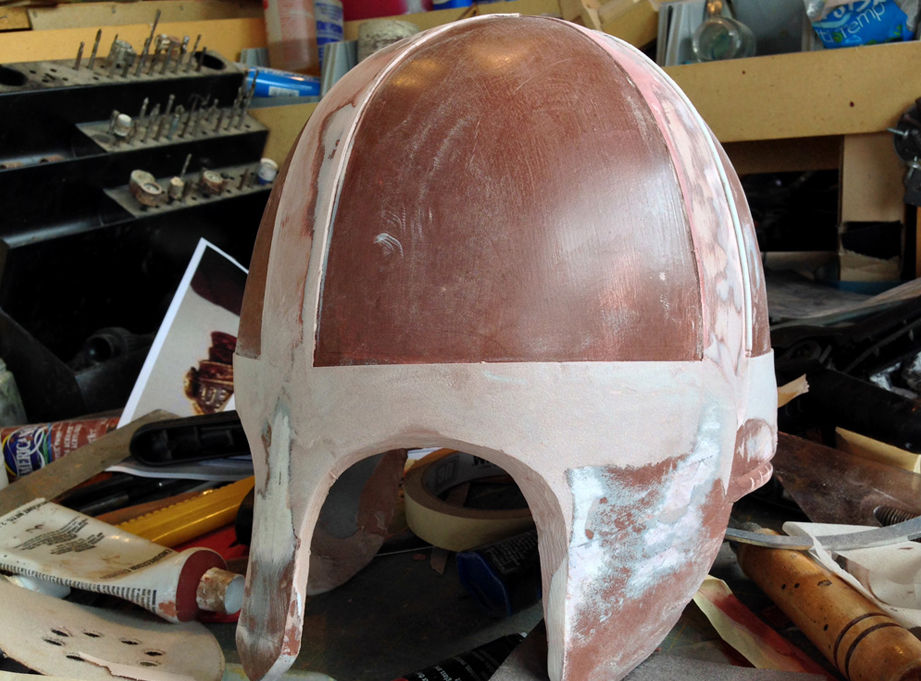I used the tape and Bondo method to build up the horizontal edge around the helmet as well.